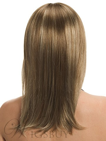 New Fashion Layered Hairstyle Lovely Long Straight Golden 100% Human Hair Wigs 16 Inches
