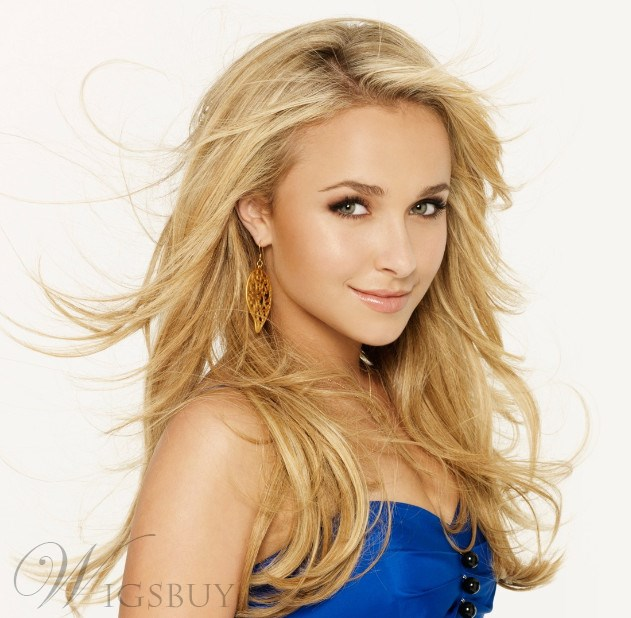 Custom Hayden Panettiere Hair Style Natural Long Wavy Golden 22 Inches Lace Hair Wig