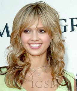 Custom 100%Human Real Hair Jessica Alba Celebrity Style 16 Inches Wig
