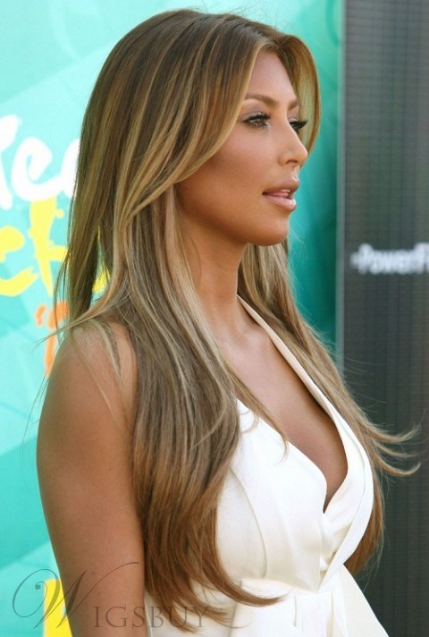 Kim Kardashian 22 Inches Blonde Hair Style Lace Front Wigs