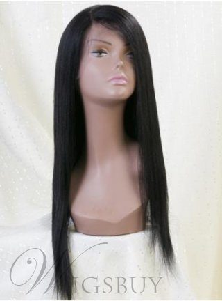 Custom 22 Inches Lace Front Super High Quality Long Straight Black Wig