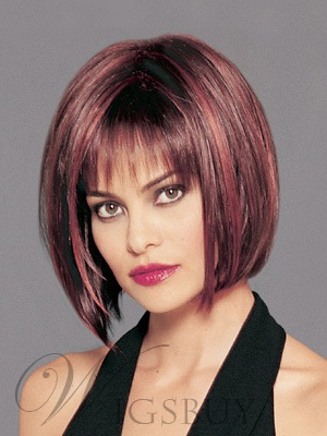 Stylish Charming Short Straight Dark Auburn 100% Human Hair Bob Wig