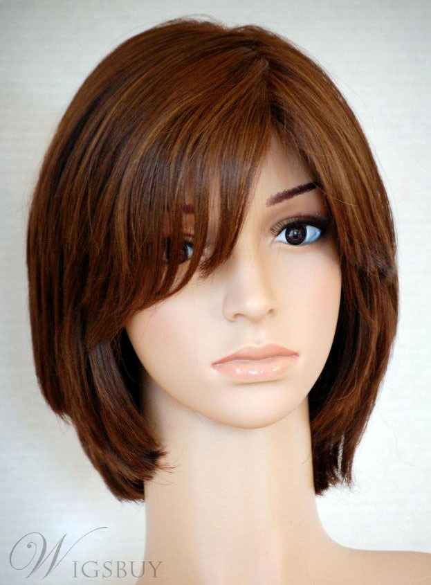 Fashion Custom 100% Real Human Hair Medium Straight Brown 10 Inches Full Lace Wig with Bang