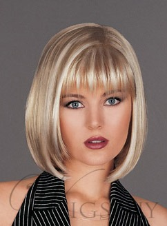 Human Hair Medium Straight Bob Hairstyle Lace Front Wigs