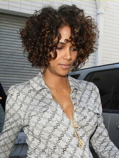 Halle Berry Remy Hair Short Curly Lace Front Wigs 10 Inches