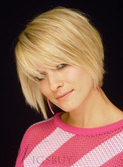 Classical Short Hairstyle 100% Human Hair Straight Natural Cheap Wig