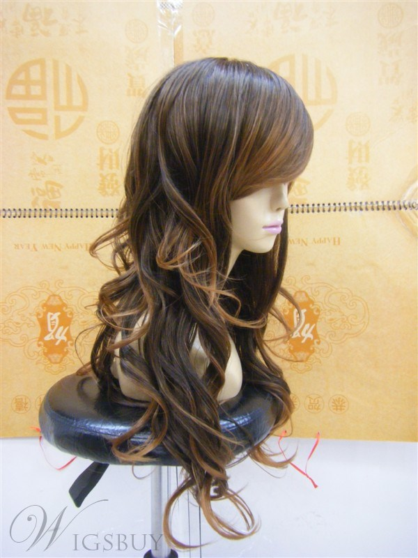 Capless Extra Long Curly Brown 22 Inches Synthetic Hair Wigs