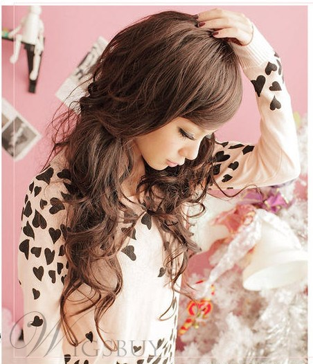 Fashion Long Curly Brown 28 Inches Synthetic Hair Wig
