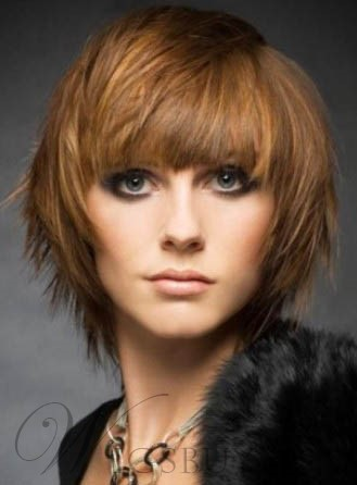 Cool Short Layered Haircut Straight 100% Human Remy Hair Wig