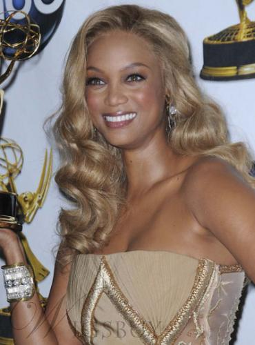 Tyra Bank Custom Celebrity Hair Style Long Wavy Light Blonde Lace Wig 18 Inches