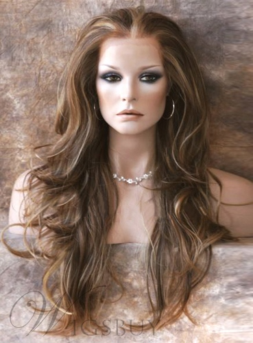 Balayage Hair Hairstyle Long Loose Wavy Brown with Blonde Hightlights Lace Wig 24 Inches