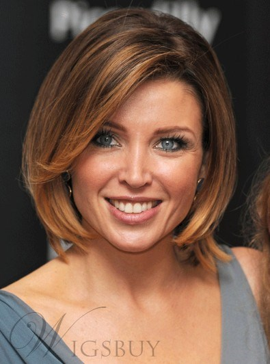 Top Quality Custom Dannii Minogue's Hairstyle Short Straight 100% Human Hair Full Lace Cap Best Wig 10 Inches