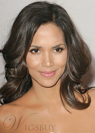 Custom Halle Berry Hair Style Natural Middium Wavy 16 Inches Lace Wig