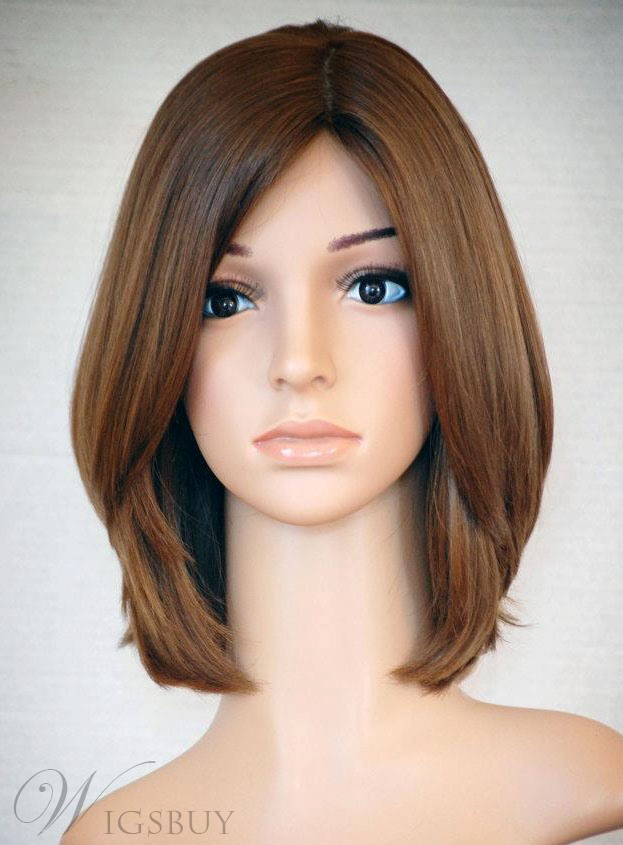 New Arrival Elegant Attractive Hairstyle Medium Straight 10 Inches Brown 100% RemyHuman Hair Lace Wig