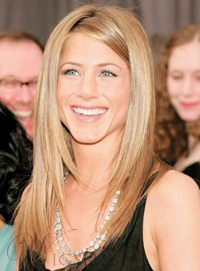 ennifer Aniston Hair Style Lace Front Long Straight Human Hair 16 Inches Wigs