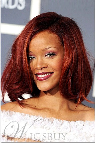 Custom Rihanna's Hair Style Medium Wavy 12 Inches Red Lace Wig