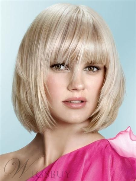 Gorgeous Celebrity Hairstyle Short Straight 10 Inches Platinum Blonde Wig