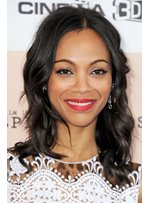 Zoe Saldana Hairstyle Medium Wavy 14 Inches 100% Black Human Remy Hair Lace Wigs