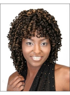 Human Hair Medium Length Deep Curly 16 Inches Capless African American Wigs