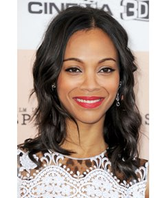 Zoe Saldana Hairstyle Medium Wavy 14 Inches 100% Black Human Remy Hair Lace Wig