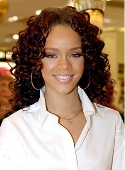 Custom Rihanna's New Hairstyle Long Curly 16 Inches Auburn Lace Front Natural Sexy Perfect Wig