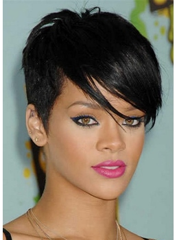 Top Quality Rihanna Hairstyle Super Short Straight Black Hair 100% Human Hair Full Lace Wig