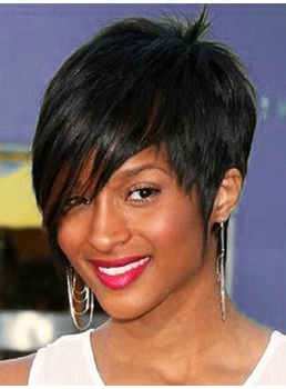 Ciara Custom Unique New Short Elegant Hairstyle 4 Inches 100% Human Remy Hair Perfect Black Wig