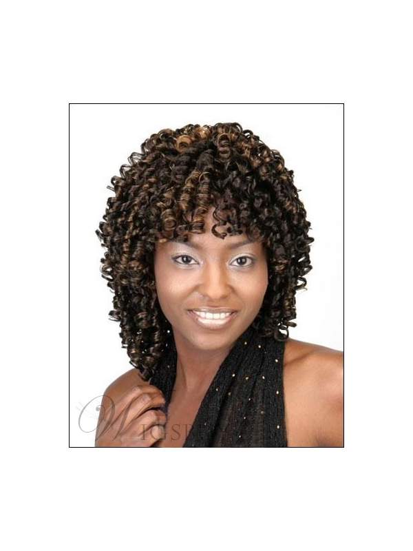 100% Human Remy Hair Super Sexy Medium Curly 16 Inches Natural Perfect African American Wig