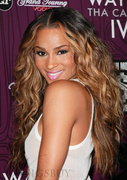 Ciara Hairstyle Retro glam Gorgeous Long Wavy 20 Inches Chocolate Color 100% Real Human Hair Lace Wig