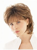 The Same Hairstyle of Salsa Shoulder Length Layered Light Auburn Wig 12 Inches
