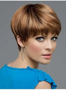 Modern Light Auburn Short Straight Graceful Synthetic Wig