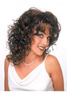 Poppy's Hairstyle Medium Length Curly Dark Brown Lace Wig 16 Inches For Fashion