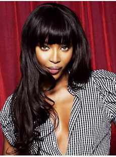 Beautiful Long Wavy Natural Black Synthetic Wig 22 Inches