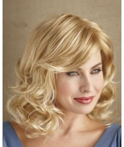 The Classic Wind In Custom Rebecca Medium Wavy Blonde Lace Wig 16 Inches