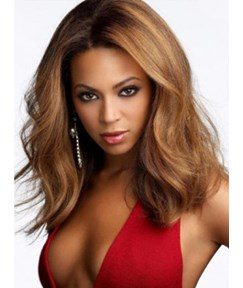 Beyonce Sexy Hairstyle Medium Body Wave Light Brown Celebrity Lace Front Wig 14 Inches