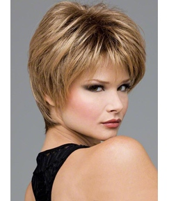 Layered Hairstyle 100% Soft Human Hair Short Straight Natural Wigs