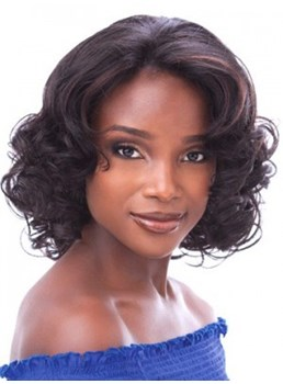 Attractive Classic Curly 14 Inches Medium Brown Elegant Lace Wig