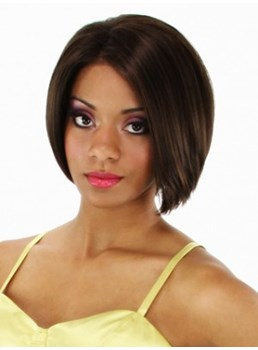 Classic Short Straight Pretty Bob Hairstyle Natural Smooth Hand Knotted Lace Wig 8 Inches