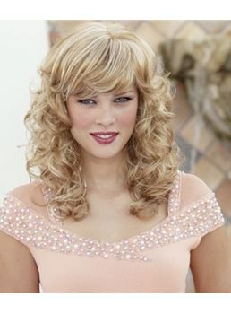 Glamorous Medium Curly Sweet Lady Hairstyle 18 Inches Ash Blonde Natural Wig