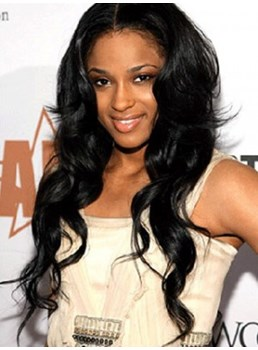Ciara Sexy Popular Black Color Long Wavy 24 Inches 100% Indian Remy Hair Hand Tied Lace Cap Latest Celebrity Hairstyle