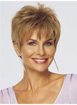Short Straight Pixie Hairstyle Synthetic Capless Wigs for Older Women