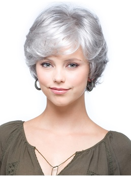 Salt and Pepper Short Natural Wave Capless Synthetic Wigs