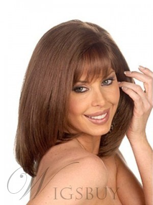 Polished Mid-Length Capless Straight Synthetic Capless Wig 12 Inches