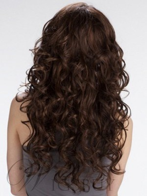 Most Attractive Gorgeous Long 22 Inches Luscious Curls Light Auburn Best Lace Wig