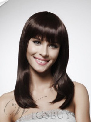 Luxury Straight Shoulder Length Capless Natural Brown Wig 16 Inches