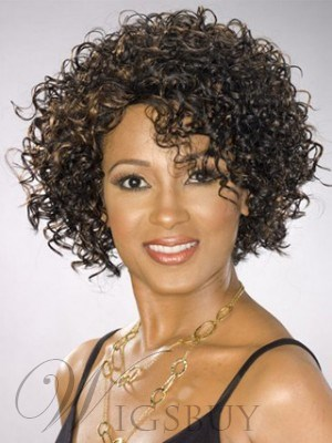 Hot Sale Top Quality African American Hairstyle Short Tight Curly Brown Lace Wig 100% Human Hair 12 Inches