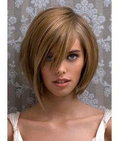 Medium Straight Strawberry Blonde Wig 100% Human Hair