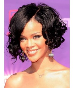 Rihanna Meidum Water Curly 10 Inches Celebrity Synthetic Lace Front Wig