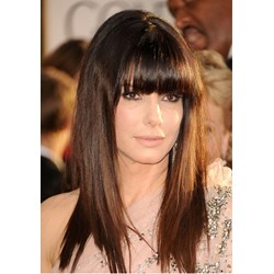 Classical Long Hairstyle Elegant with Full Bangs Soft Natural Straight Wig 16 Inches