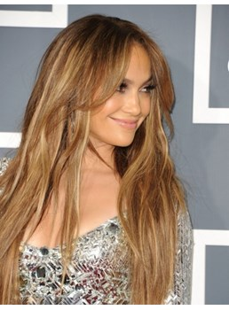 Top Quality Natural and Smooth Elegant Jennifer Lopez Hairstyle Hand Tied Lace Wig 22 Inches